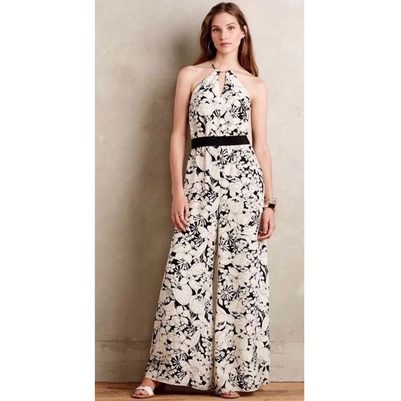 7ef909e18f1f Anthropologie Pants - Anthropologie Black and White Floral Jumpsuit